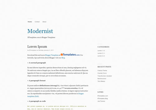 2 Modernist The Best Minimalist Blogger Templates