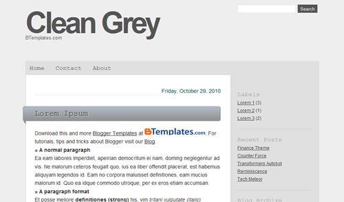 3 CleanGrey The Best Minimalist Blogger Templates