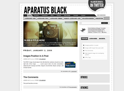 6 AparatusBlack The Best Minimalist Blogger Templates