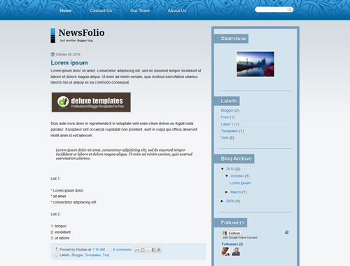 7 NewsFolio The Best Minimalist Blogger Templates
