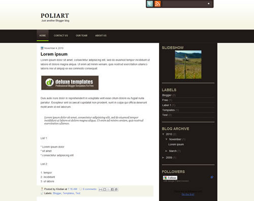 8 PoliArt The Best Minimalist Blogger Templates