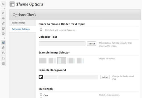 wordpress options page resources