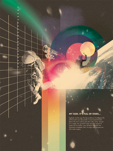2001: A Space Odyssey retro movie poster
