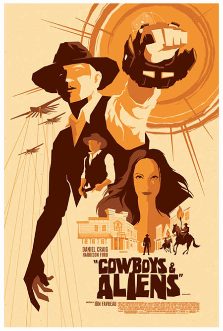 Cowboys & Aliens retro movie poster